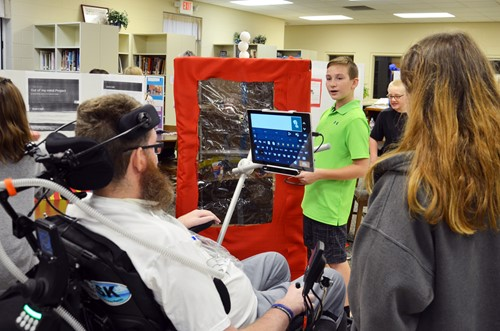 Student presents his design to Dr. Wandell