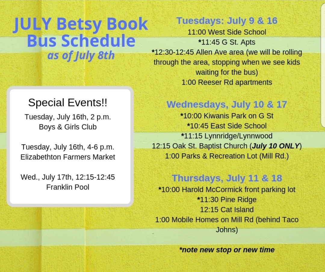 Betsy book bus schedule