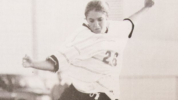 During the Elizabethton girls soccer program's first ever victory in 1997, former Lady Cyclone Mimi Tarr takes a kick. The Lady Cyclone topped Jeff County 2-1 that year.